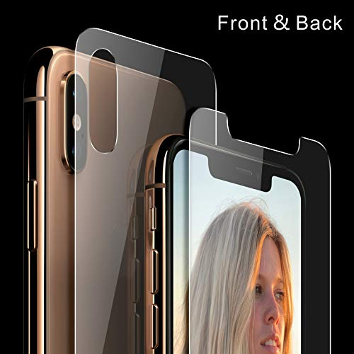 Singularity Products iPhone Xs Max Front and Back Screen Protector, Tempered Glass Screen Protectors HD Clear Anti Fingerprint Front and Back Glass Protector Film Compatible iPhone Xs Max 6.5 ()