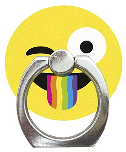 iscream Rainbow Crazy Face Emoji Adhesive Backed Cell Phone Ring and Hands Free Stand
