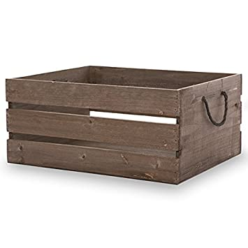 The Lucky Clover Trading Antique Wood Crate Storage Box, Brown