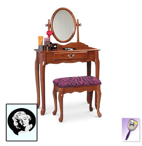 New Marilyn Monroe Themed Oak Finish Make Up Vanity Set with Adjustable Mirror and Bench with your choice of seat cushion theme! Also includes free hand & purse mirror! by The Furniture Cove