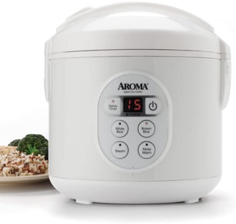 8Cup Cooked Digital Rice Cooker and Food Steamer White by AROMA