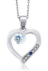0.35 Ct Round Sky Blue Topaz Blue Simulated Sapphire 925 Sterling Silver Pendant