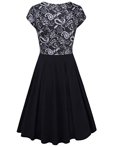 Dress Line Lotusmile Floral A Neck Elegant with Grey V Cap Womens Dress Sleeve Casual Pockets Black EE7qnFrg