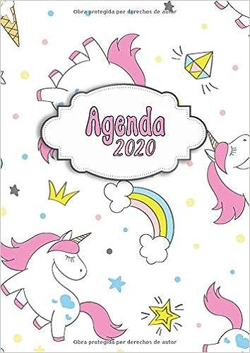 Agenda 2020: Tema Unicornios Arcoiris Blanca Agenda ...