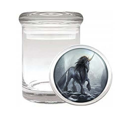 """Medical Glass Stash Jar Unicorns Mythical Creature S10 Air Tight Lid 3"""" x 2"""" Small Storage Herbs & Spices"""