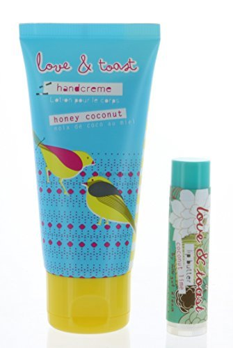 Set Natural Handcreme Moisturizing Honey Coconut 2 oz, and Lip Balm Coconut Lime by Love & Toast