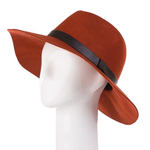 eUty Vintage Women Ladies Wide Brim Floppy Warm Wool Blend Felt Hat Orange