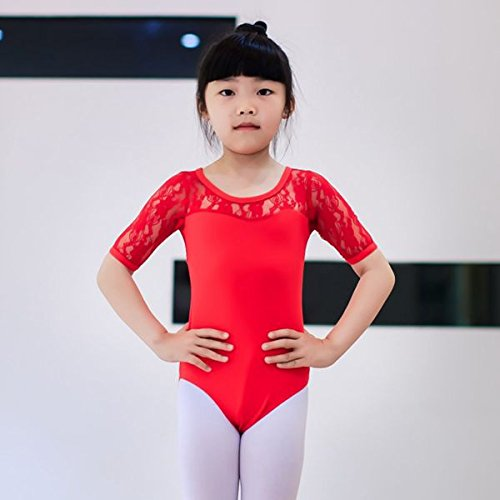 hsn_zen Kids Girls Gymnastics Leotard Dress Ballet Dancewear Lace Short Sleeve Costume (red, -