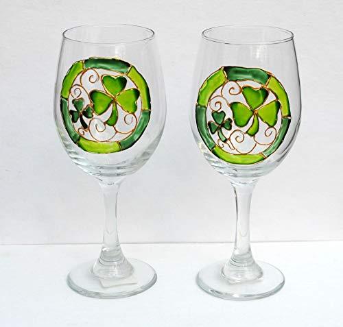 Lucky Green Shamrocks Hand Painted Stemmed 20 oz Wine Glasses (Set of 2)