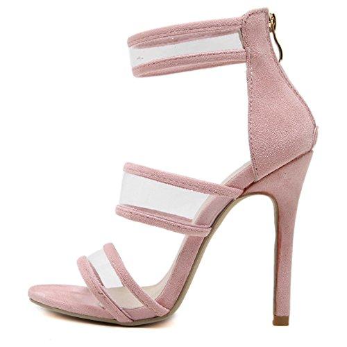 MEI&S aiguilles Sandales femmes nouilles femmes velours Fermeture 20000 éclair dos Scrub Talons aiguilles chaussures Pink d824936 - shopssong.space