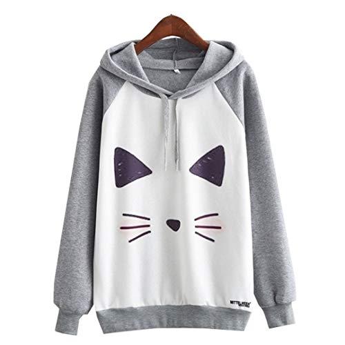 Tongcai Fashion Hooded Sweatshirts Kitty Cat Harajuku Hoodie Grey