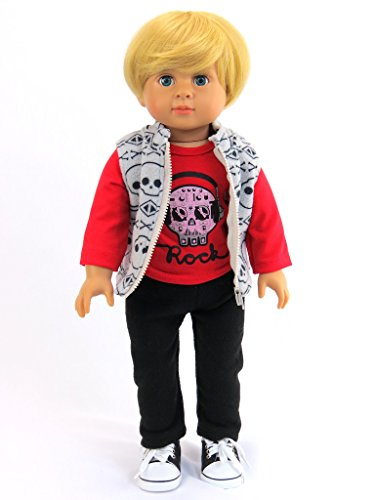 American Fashion World Caden The Little Rock Star 18-Inch Boy Doll with Shirt, Vest, and - World Sunglass Totes