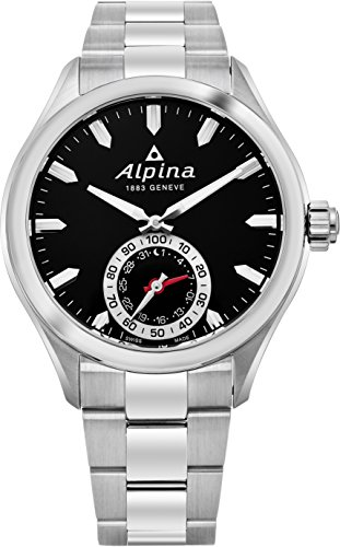 Cheap Alpina Horological Smartwatch Mens Fitness Watch – 44mm Black Face Swiss Quartz 2 Year Battery Life Running Watch – Stainless Steel Water Resistant Sleep Monitor Activity Tracker Watch AL-285BS5AQ6B