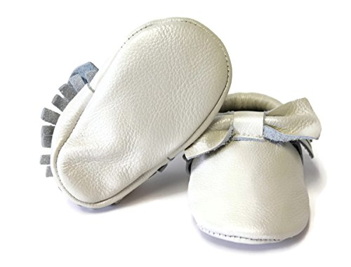 SnuggleRoo Bow Leather Baby Moccasins Shoes Soft Sole Handmade for Infants, Toddlers, Kids (6-12 Months (US 4 Toddler), Pearl White)