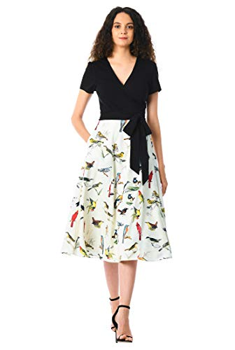 (eShakti FX Mixed Media Bird Print wrap Dress Black/Cream Multi )