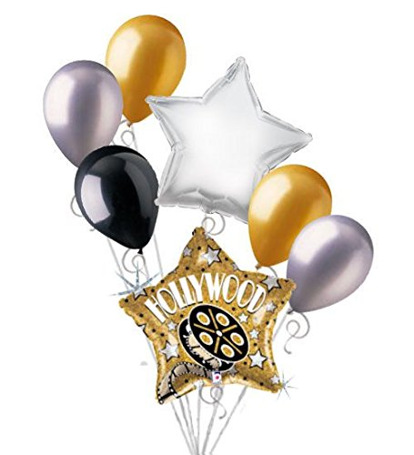 7 pc Hollywood Gold Star Movie Balloon Bouquet Decoration Party Decor Birthday -