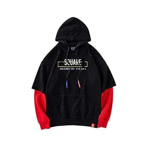 Black Con Go Cotone In Pezzi Color Maglione Shopping Due Finto Cappuccio Red Uomo Da Easy q7faTT