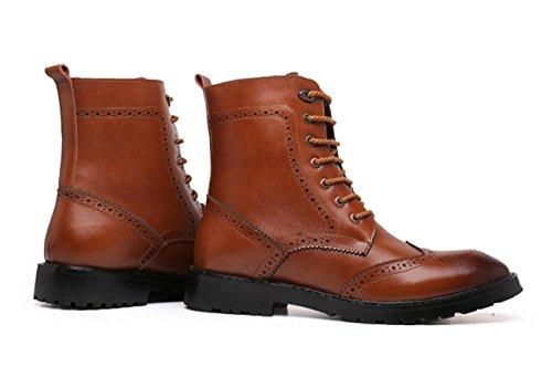 WZG Les nouvelles bottes Martin Bullock sculpté en cuir haut-dessus des chaussures en Europe et en Amérique bottes de marée souligné bottes , brown , 39