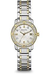 Bulova Two Tone Quartz Women's Watch 16 Diamonds 98R226
