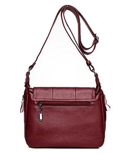 GMBBB180935 Zippers Pu Achats Rouge à bandoulière AgooLar sacs Femme Vineux Sacs Cuir Des xwUpZwq