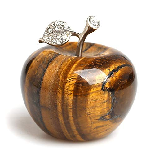 (faovramulet Tiger's Eye Stone Carved Appple Figurine Sculpture Statue Paperweight Healing Crystal Home Ornament Decoration 1.3
