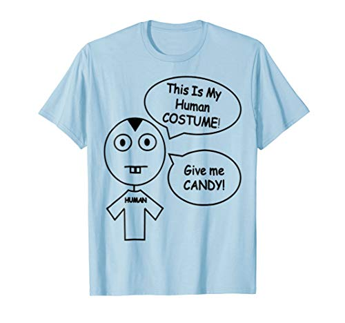 This Is My Human COSTUME - Give me CANDY. Stickman T-Shirt -