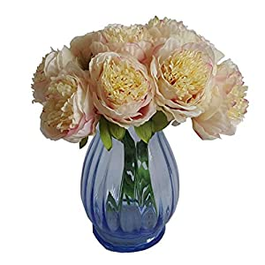 Eternal Blossom Silk Peony Bouquet, 5 Artificial Bouquets Bridal Bouquet Wedding Party Flower Home Garden Decoration 75