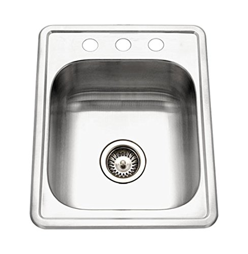 Houzer A1722-7BS-1 ADA Glowtone Topmount Stainless Steel 17'' x 22'' Sink with 3 Holes by HOUZER