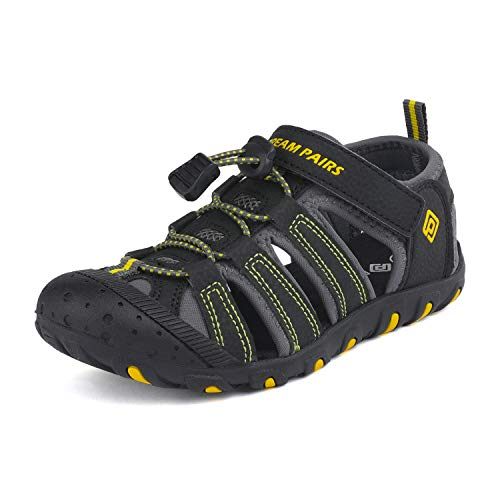 DREAM PAIRS Boys Gilrs Little Kid 181105K Black Grey Yellow Athletic Outdoor Summer Sandals Size 12 M US Little Kid