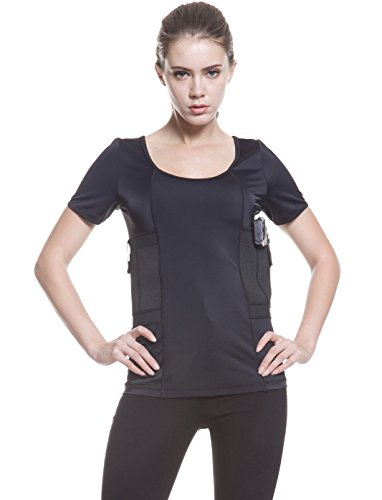 Graystone Holster Shirt Scoop Neck Concealed Carry Clothing for Women - Deep Concealment Compression CCW Clothes (Black, XX-Large)