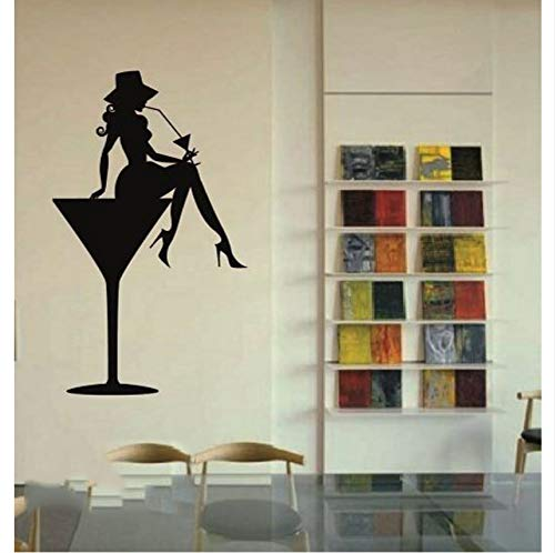 LSFHB Vinyl Decal Sexy Hot Girl in Martini Glass Party Cocktail Drink Wall Sticker 37X62Cm -