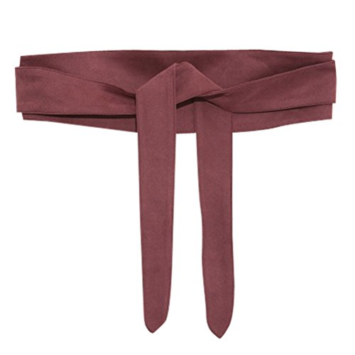 Ababalaya Women's Retro Sweet 4×80inch Ultra Wide Suede Bow Belt Girdle for Coat Dress Decoration,Burgundy
