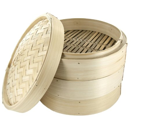 12-inch Authentic Chinese Bamboo Steamer - 4 Piece Set