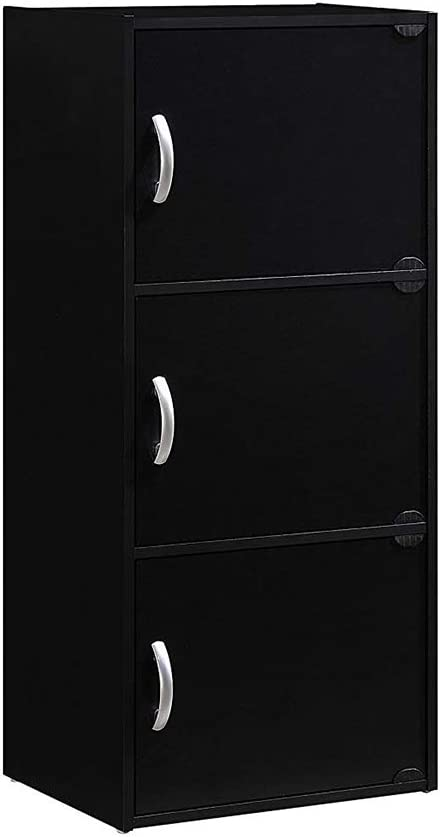 HODEDAH IMPORT 3-Shelf Bookcase Cabinet, Mahogany (2 Packs (Black))