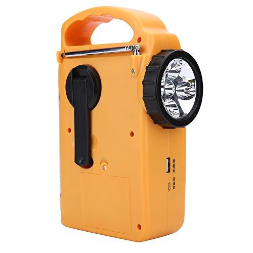 Vbestlife Emergency Radio Solar Hand Crank Dynoma Weather Radio AM/FM/ Radio LED Flashlight Lamp, USB Mobile Phone Charger, MP3 Player & Siren (Yellow)