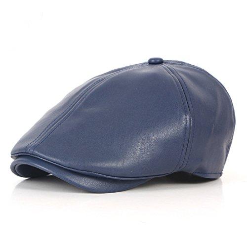 Pigment Dyed Newsboy Cap - WAZZIT 6 Panel Leather Newsboy Hats Solid Ivy Irish Cabbie Caps Driver Beret Hat - Navy Blue