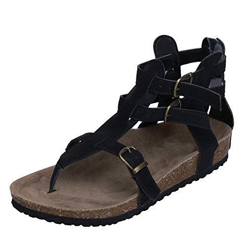 Womens Flip Flop Roman/Gladiator Ankle Wrap Cutout Flat Sandal Fisherman Sandal Beach Shoes by Chaofanjiancai Black ()