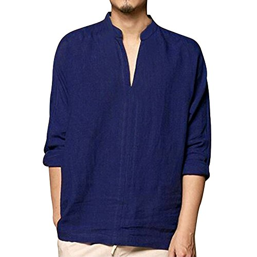 DEATU Sale ! Cotton&Linen V Neck Shirts for Men Long Sleeve, Mens Casual Retro Comfy Tops Blouse Solid Basic Tees Lightweight(Navy,US:L/CN:XL)