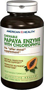 American Health Papaya Enzyme with Chlorophyll Chewable Tablets, 600 (600 Chewable)