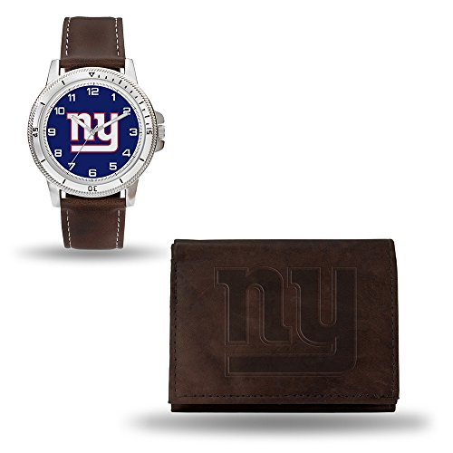 - Rico Industries NFL New York Giants Men's Watch and Wallet Set, Brown, 7.5 x 4.25 x 2.75-Inch