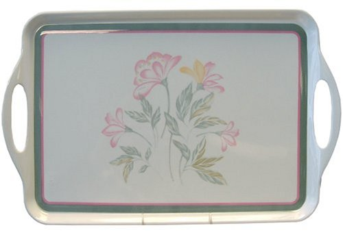 Corelle Coordinates by Reston Lloyd Melamine Rectangular Serving Tray with Handles, Pink Trio
