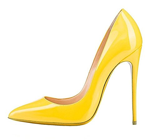 Emiki Women Solid Pointed Toe Court Shoes Patent Leather Stilettos Thin Heels Pumps Bridal Party Plus Size UK2.5-13 Yellow Patent Leather 9qlR5