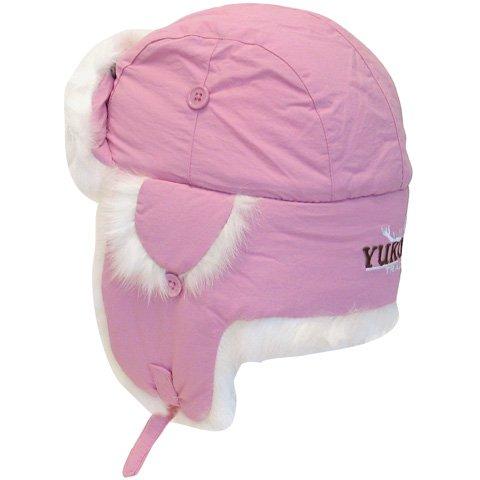 YUKON TASLAN ALASKAN HAT - PINK WITH WHITE FUR - SMALL,