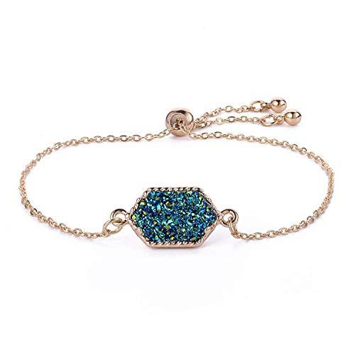 Women Girls Link Bracelet 14k Gold Plated in Green Faux Druzy Stone Sparkly Hexagon Quartz Adjustable Bracelet (Gold+Green)