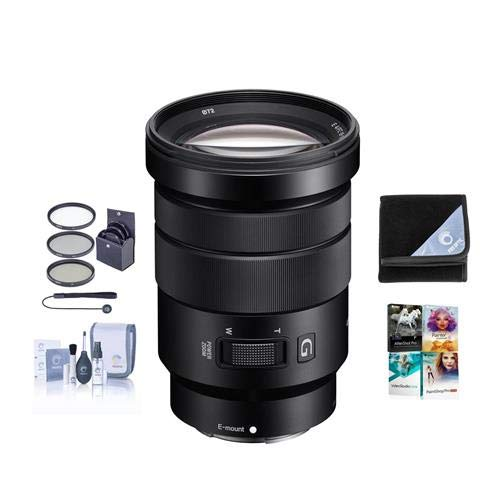 Sony 18-105mm F4.0 G OSS E-Mount NEX Camera Lens Bundle with 72mm Filters & Pro Software