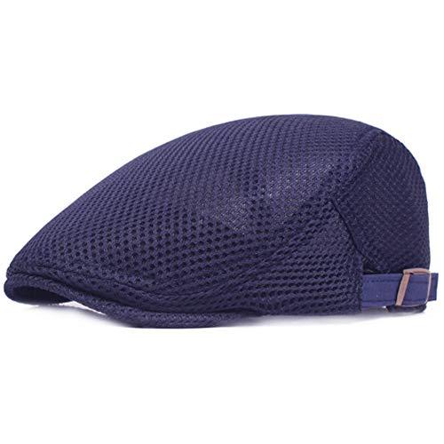 Men's Breathable Mesh Summer Hat Flat Cap Beret Ivy Gatsby Newsboy Cabbie Caps (A-Navy)