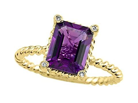 Genuine Amethyst Ring by Effy Collection 14kt Size 7.5 - Genuine Rough