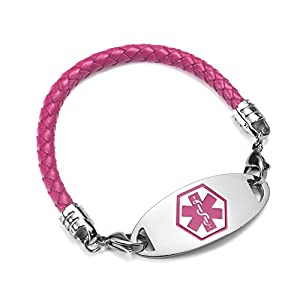 BAIYI 4.9mm Purple Leather Medical Alert ID Bracelet for Women Size 6-8 inch (Free Engraving)