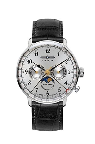 Zeppelin Series LZ129 Hindenburg Men's Multifunction Day/Date Moon Phase Watch Silver with Black Strap (Day Date Series)