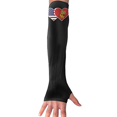 HBSUN FL Unisex USA Flag Canada Boxing Beaver Anti-UV Cuff Sunscreen Glove Outdoor Sport Riding Bicycles Half Refers Arm Sleeves by HBSUN FL